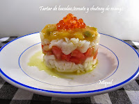 Tartar de bacalao, tomate y chutney de mango