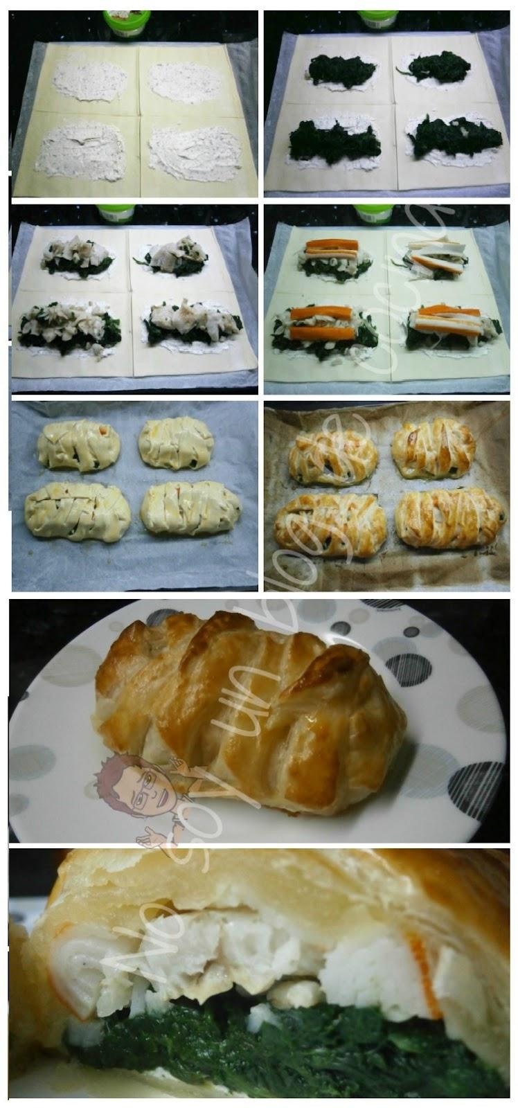 Hojaldre relleno de merluza, espinacas, surimi y queso