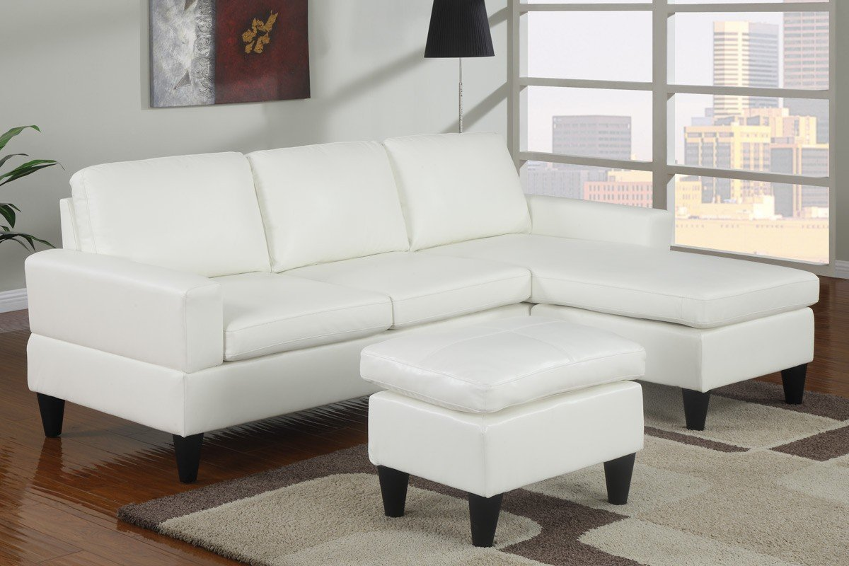 White Microfiber Sectional Sofa Seat Stuffing And Leather Sleeper With Chaise