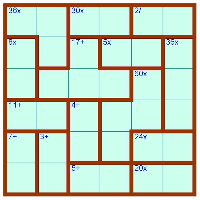 Kendoku Puzzle 6x6