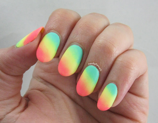 Summer Neon Gradient Nails