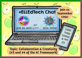 Come join the next #ELLEdTech Twitter chat on September 16th to discuss the 4C topics of Collaboration & Communication. | The ESL Nexus