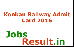 Konkan Railway Admit Card 2016