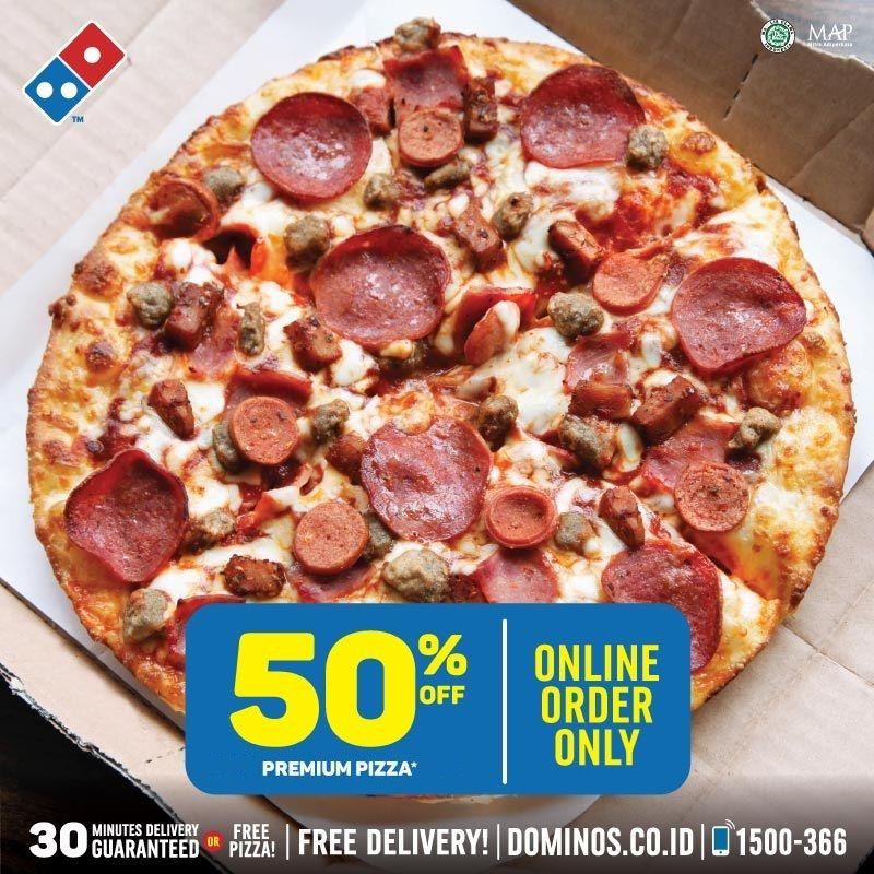 Dominos - Promo Diskon 50% Premium Pizza Min Belanja 150K