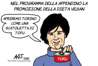 Appendino, torino, vegan, vignetta, satira