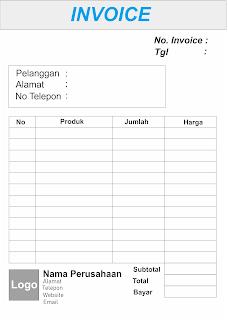 Desain invoice dengan tabel