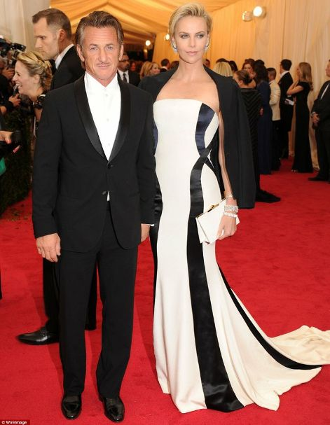 Charlize Theron in Dior Couture with Sean Penn at the Met Gala 2014