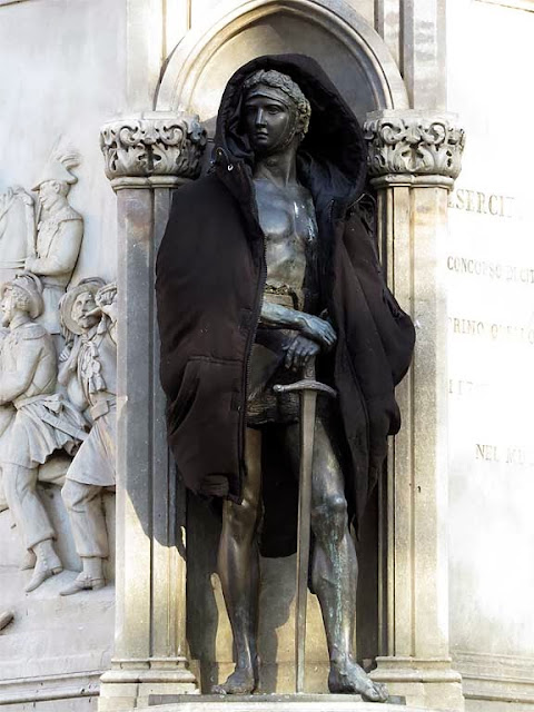 Detail of Manfredo Fanti's Monument, piazza San Marco, Florence