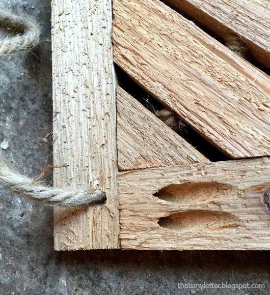 wooden door mat with rope