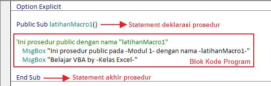 Struktur Procedure VBA Excel