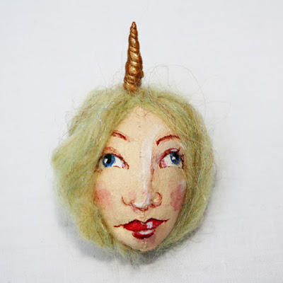 Unicorn art doll brooch