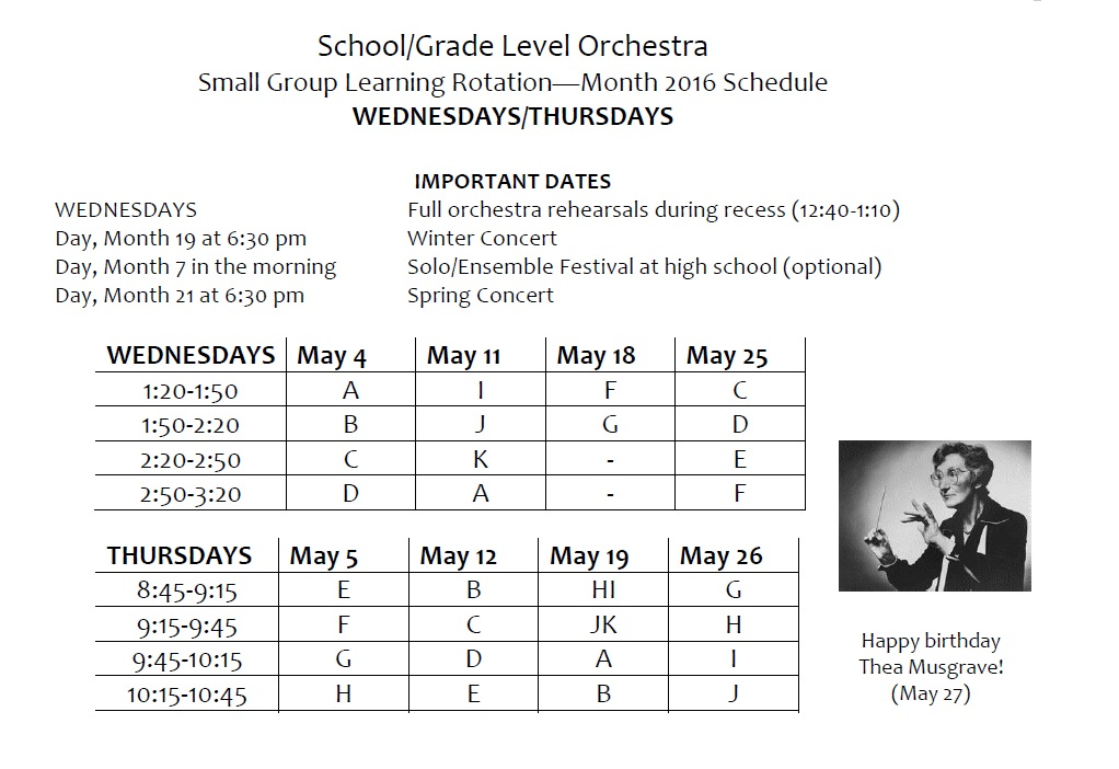 elementary orchestra sample small group instruction rotation schedule