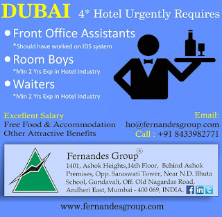 Dubai 4 Star Hotel Urgently Requires text image