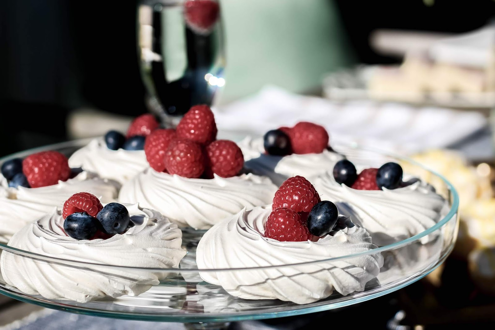 Styling Meringues with Blueberries and Raspberries