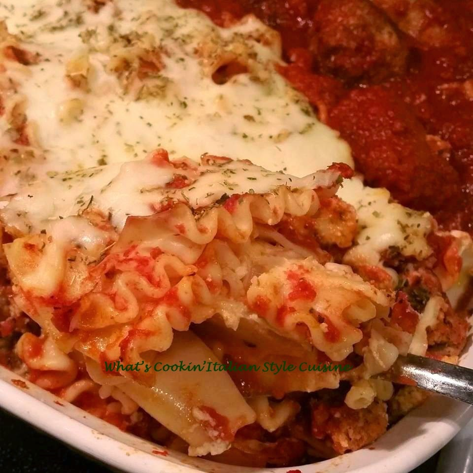 quick and easy lasagna with meats, cheese and all in one easy casserole dish