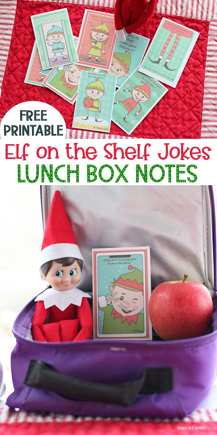 Surprise your kids with lunch box notes from the elf! These Christmas lunch box notes are an easy Elf on the Shelf idea for kids. Super cute kid friendly Elf jokes for all ages! Love these free printables for kids. #elfontheshelf #lunchboxlove #instantdownload #Christmas