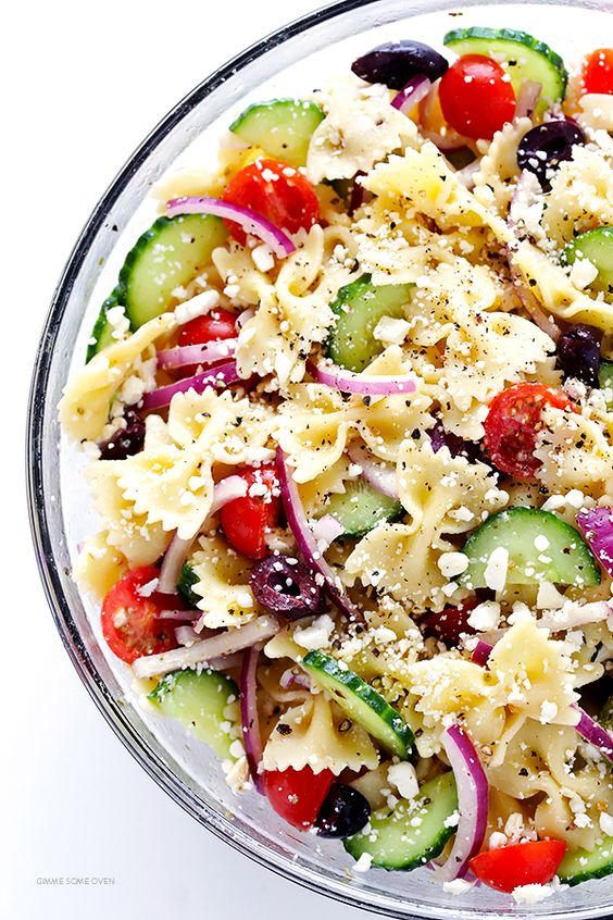 This Mediterranean Pasta Salad recipe is quick and easy to make, it's tossed with a zesty lemon-herb vinaigrette, and it's always a crowd-pleaser!