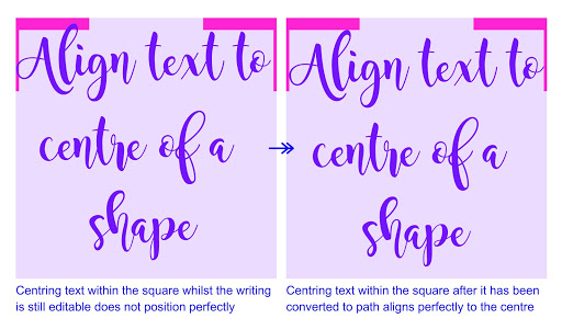 Align Ninja tips: convert text to path to align perfectly.  Tutorial by Nadine Muir for Sillhouette UK
