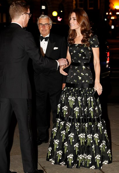 Kate Middleton wore Alexander McQueen dress, Jimmy Choo pumps, Kiki McDonough earrings, Prada clutch
