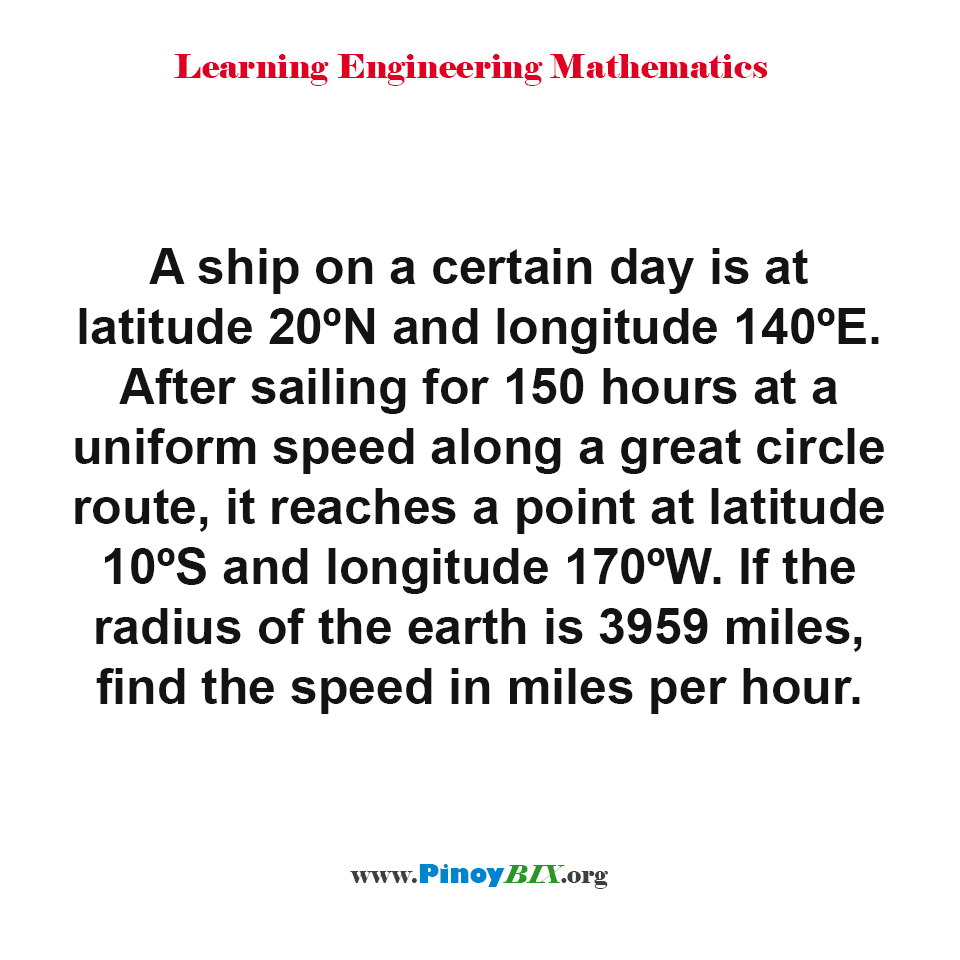 If the radius of the earth is 3959 miles, find the speed in miles per hour.