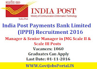 India Post Payments Bank Limited (IPPB) Recruitment 2016 For 1060 Manager & Senior Manager Posts