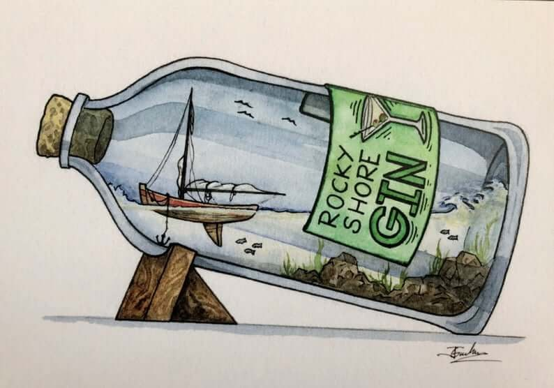 11-Rocky-Shore-Gin-Jon-Guerdrum-Ship-in-a-Bottle-Drawings-and-Paintings-www-designstack-co
