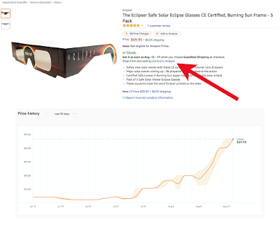 huge price increase in solar eclipse glasses on amazon