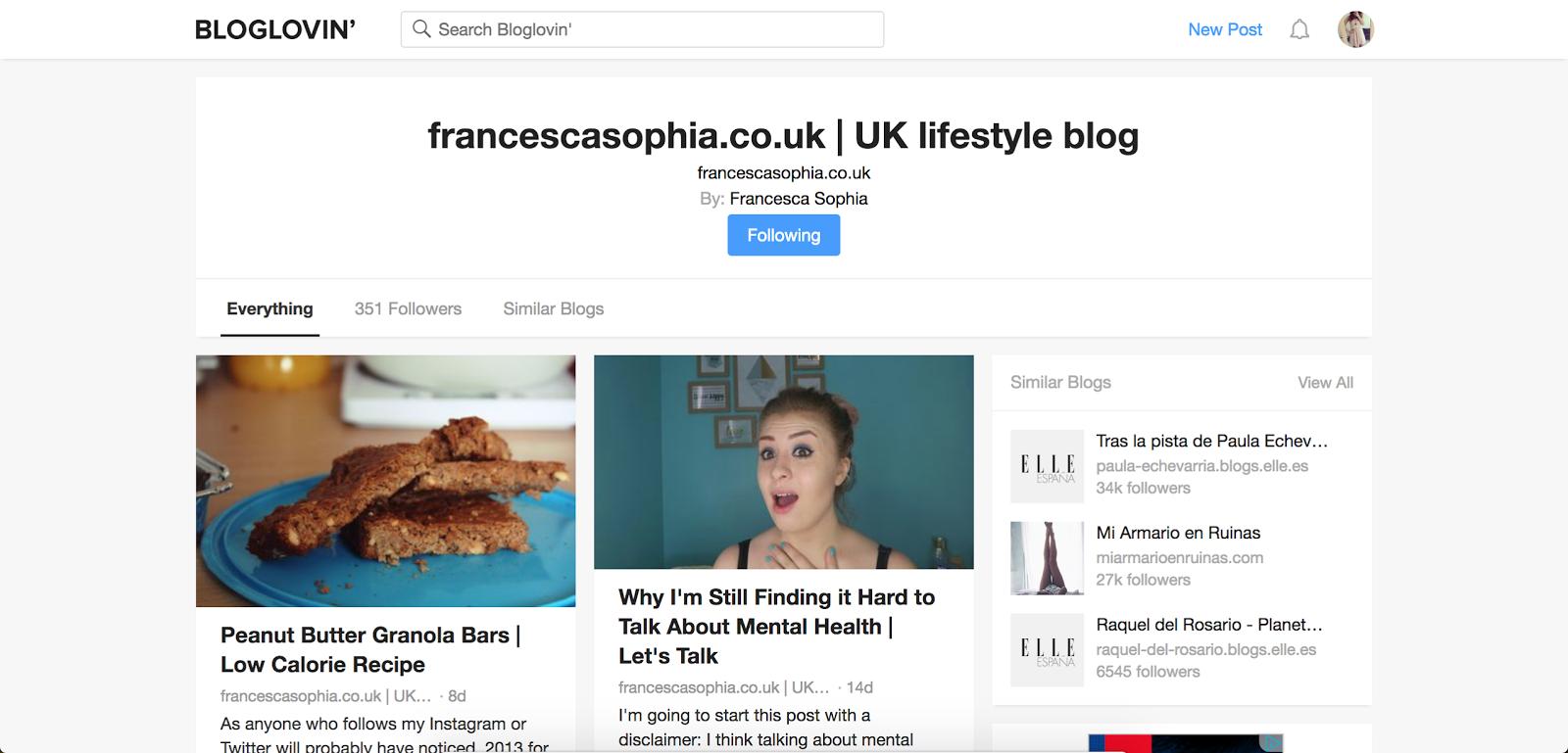screenshot of the bloglovin' page from francescasophia.co.uk