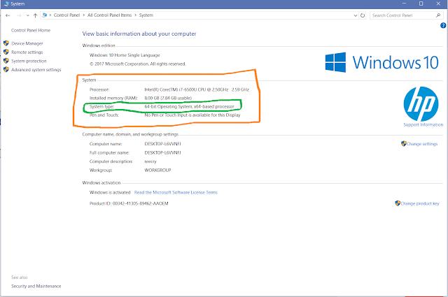 system option windows 10
