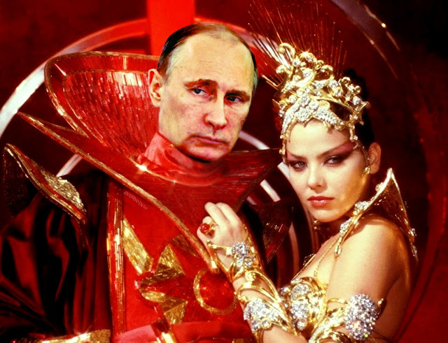 A still image from the 1980 movie, Flash Gordon: Ming the Merciless with his Daughter, Aura (Ornella Muti). The image has been altered such that Ming is now Владимир Путин (Valdimir Putin).