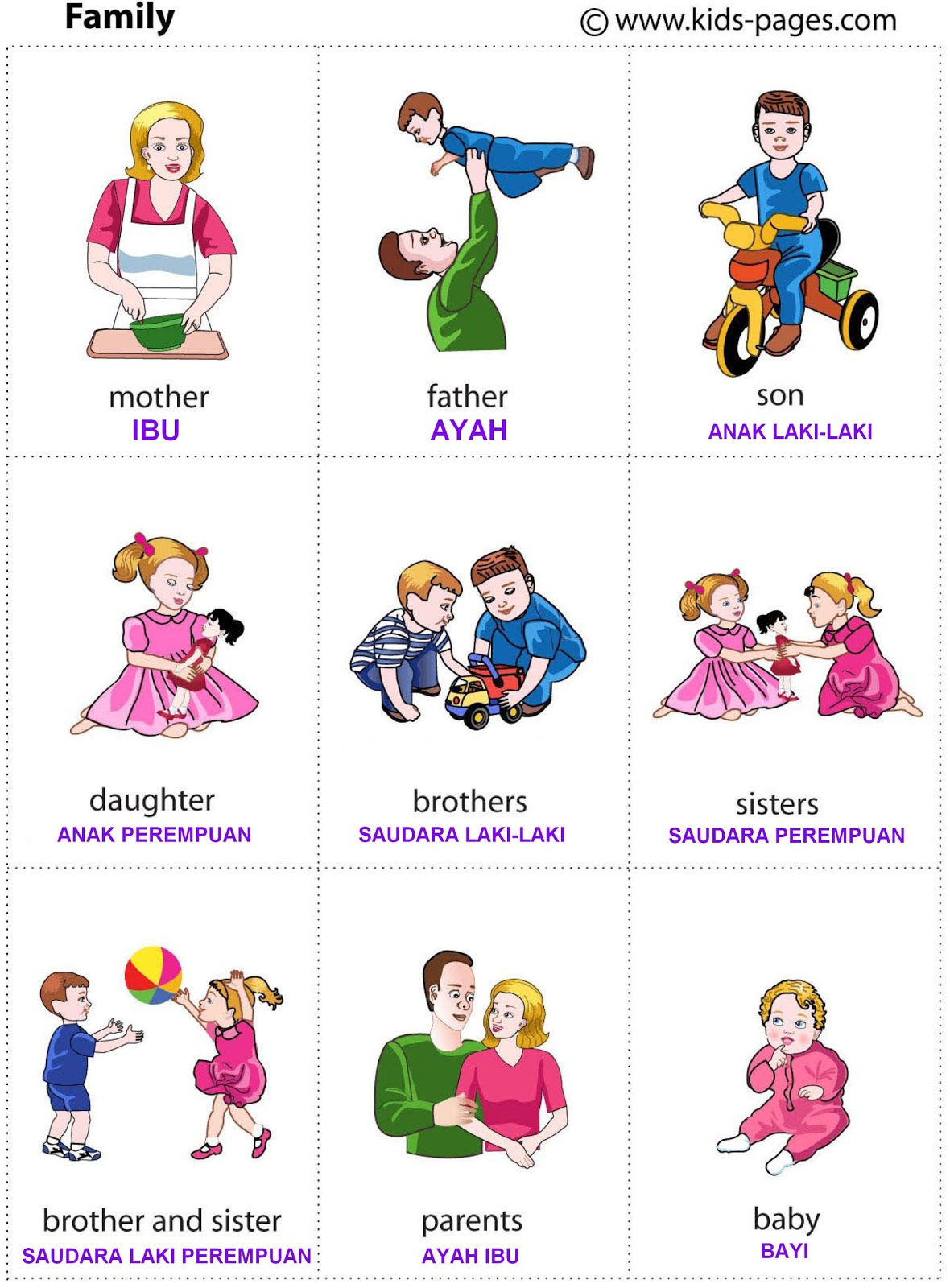 Flashcard Indonesia Flash Card Family 1