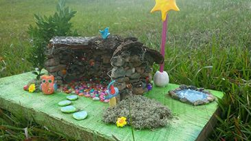 what we made with rocks, and moss and tree bark, fun cool craft project doll house and polymer clay owls