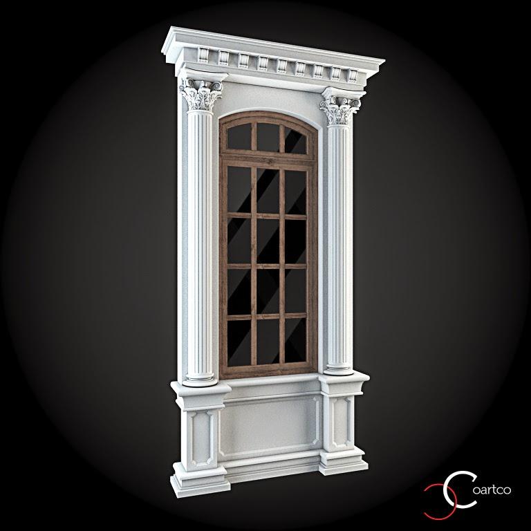 Ornamente Geamuri Exterior, Coloane Decorative, fatade case cu profile decorative polistiren, profile fatada,  Model Cod: WIN-050