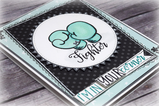 Fighter card by Julee Tilman using Verve Stamps www.poeticartistry.blogspot.com