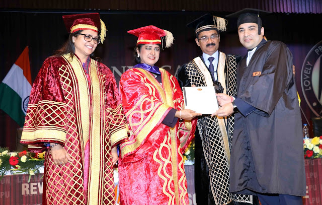 HE President of the Republic of Mauritius Dr Ameenah Gurib Fakim, LPU Chancellor Ashok Mittal, Pro Chancellor Rashmi Mittal giving PhD degree to student Rajiv Sobti at LPU Convocation