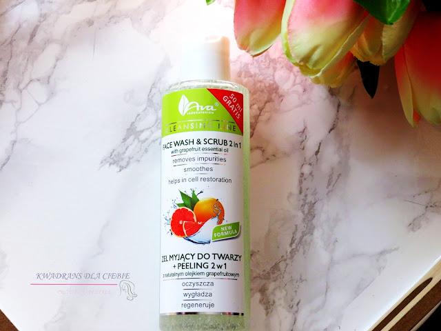 Ava CLEANSING LINE Żel myjący do twarzy + peeling 2 w 1z naturalnym olejkiem grapefruitowym, Ava Laboratorium, oczyszczenie skóry, Kwadrans dla Ciebie, pielęgnacja twarzy, ava żel do mycia twarzy,