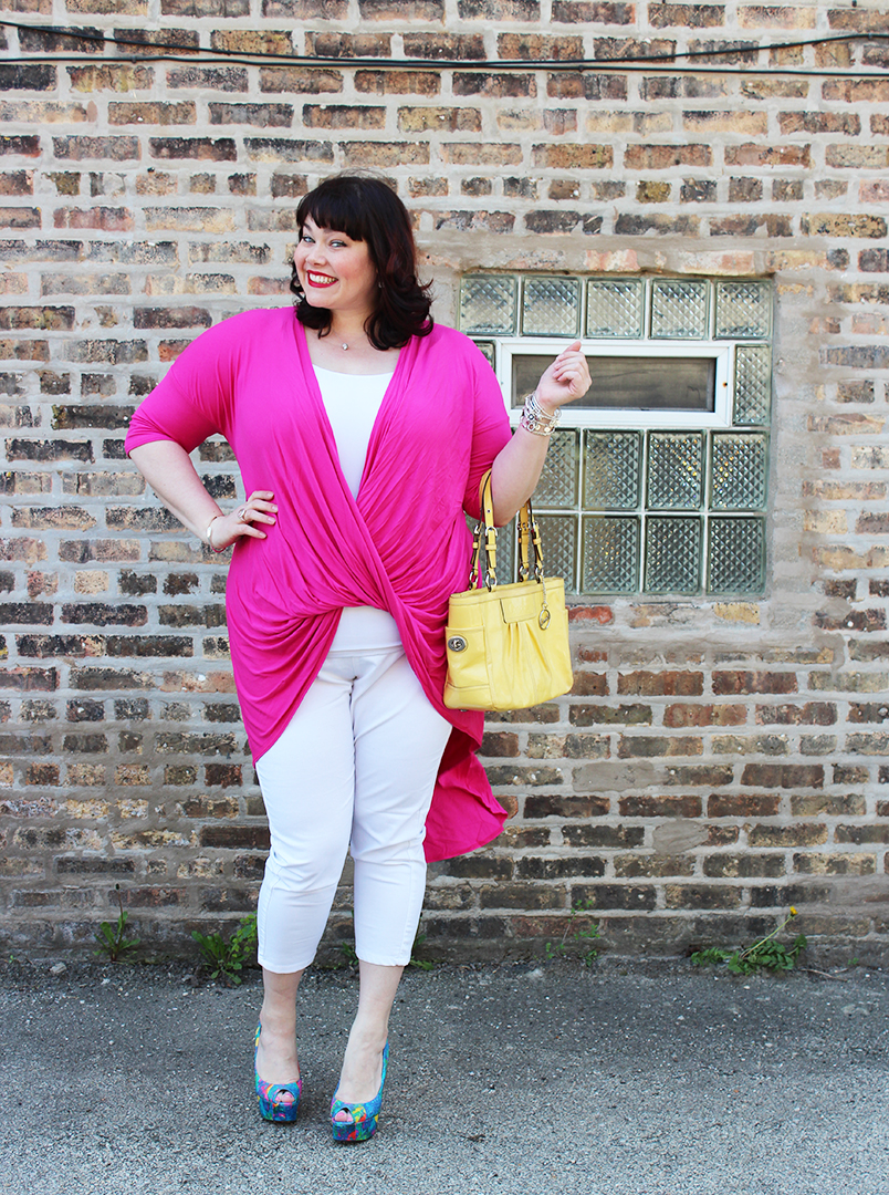 Plus Size Blogger Amber from Style Plus Curves in a magenta top and white jeggings