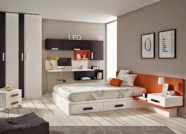 Habitacion juvenil con cama de matrimonio for Camas modernas para jovenes