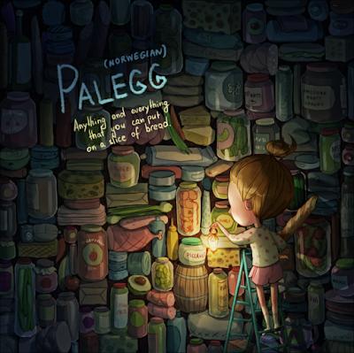 Palegg (palavra Noruega) mostra uma menina entre vários potes e procurando entre elas.