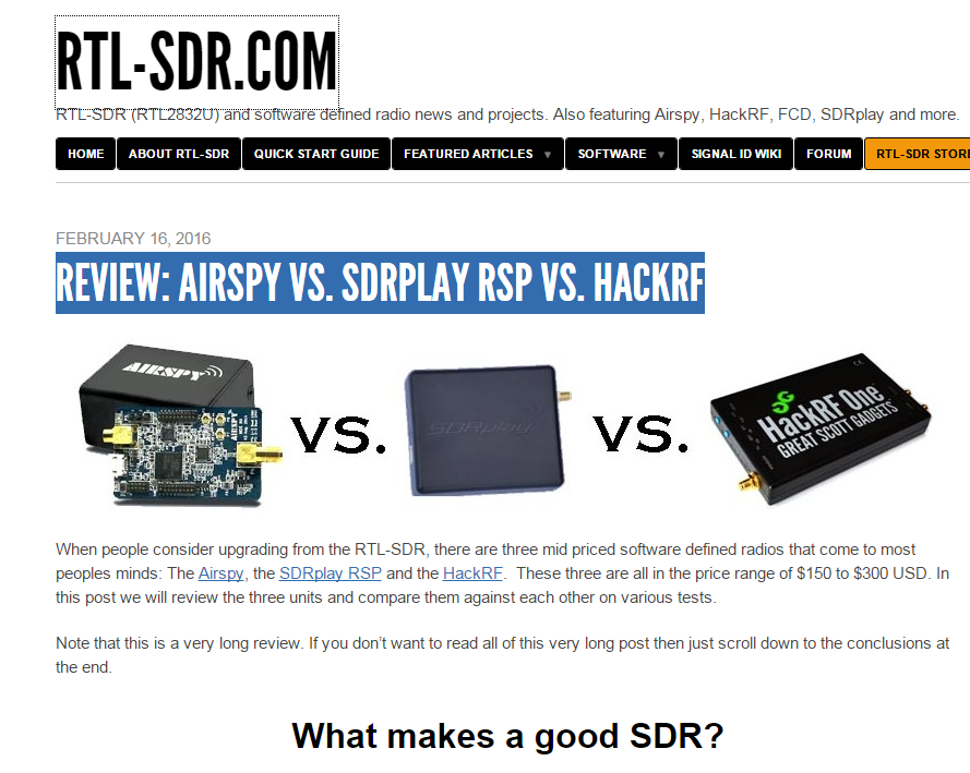 R A D I O A C T I V I T Y: REVIEW : AIRSPY VS  SDRPLAY RSP