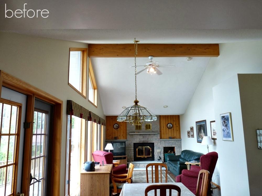 Wood beam in ceiling