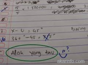 Buat info - Jawaban Nyleneh Soal Matematika
