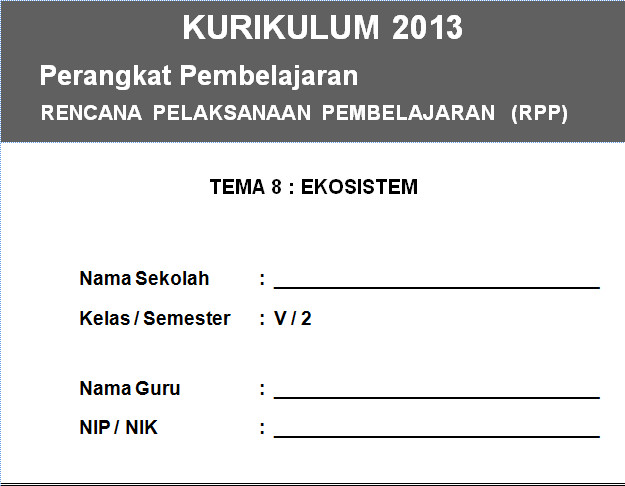 RPP Kurikulum 2013 SD KELAS 5 SEMESTER 2 - Ekosistem