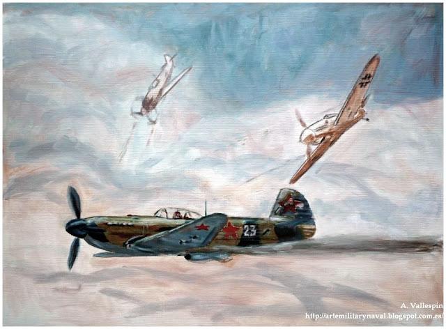 Pintura al oleo de la piloto rusa apodada la Rosa de Stalingrado 3