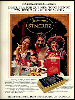 propaganda cigarros St. Moritz - 1977. propaganda anos 70; história decada de 70; reclame anos 70; propaganda cigarros anos 70; Brazil in the 70s; Oswaldo Hernandez;