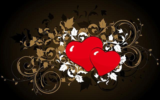 Zwarte achtergrond met rode liefdes hartjes