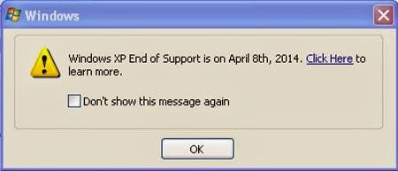 End of Windows XP, the countdown begins, Microsoft extends Windows XP, software, warning message