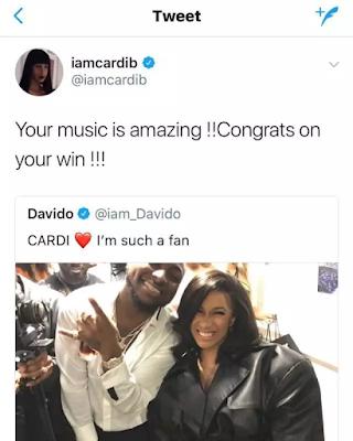 "ENTERTAINMENT: ""Your Music Is Amazing""- American female rapper Cardi B Tells Nigerian music artist 'Davido'"