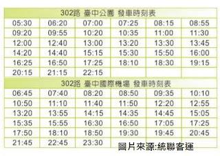 台中302路公車時間表