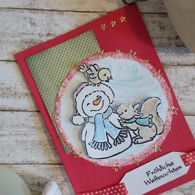 [DIY] Weihnachtskarte Schneemann und Eichhörnchen // Christmas Card Snowman and Squirrel